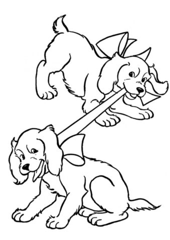 Щенята играются друг с другом (Собаки и щенки) раскраска для печати и загрузки
