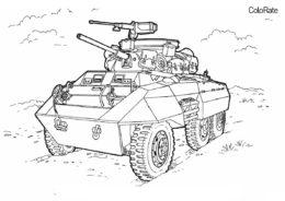 Военные бесплатная раскраска распечатать на А4 - Шестиколёсный танк