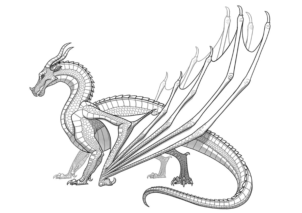 Раскраска Шестилапый ящер распечатать | Драконы