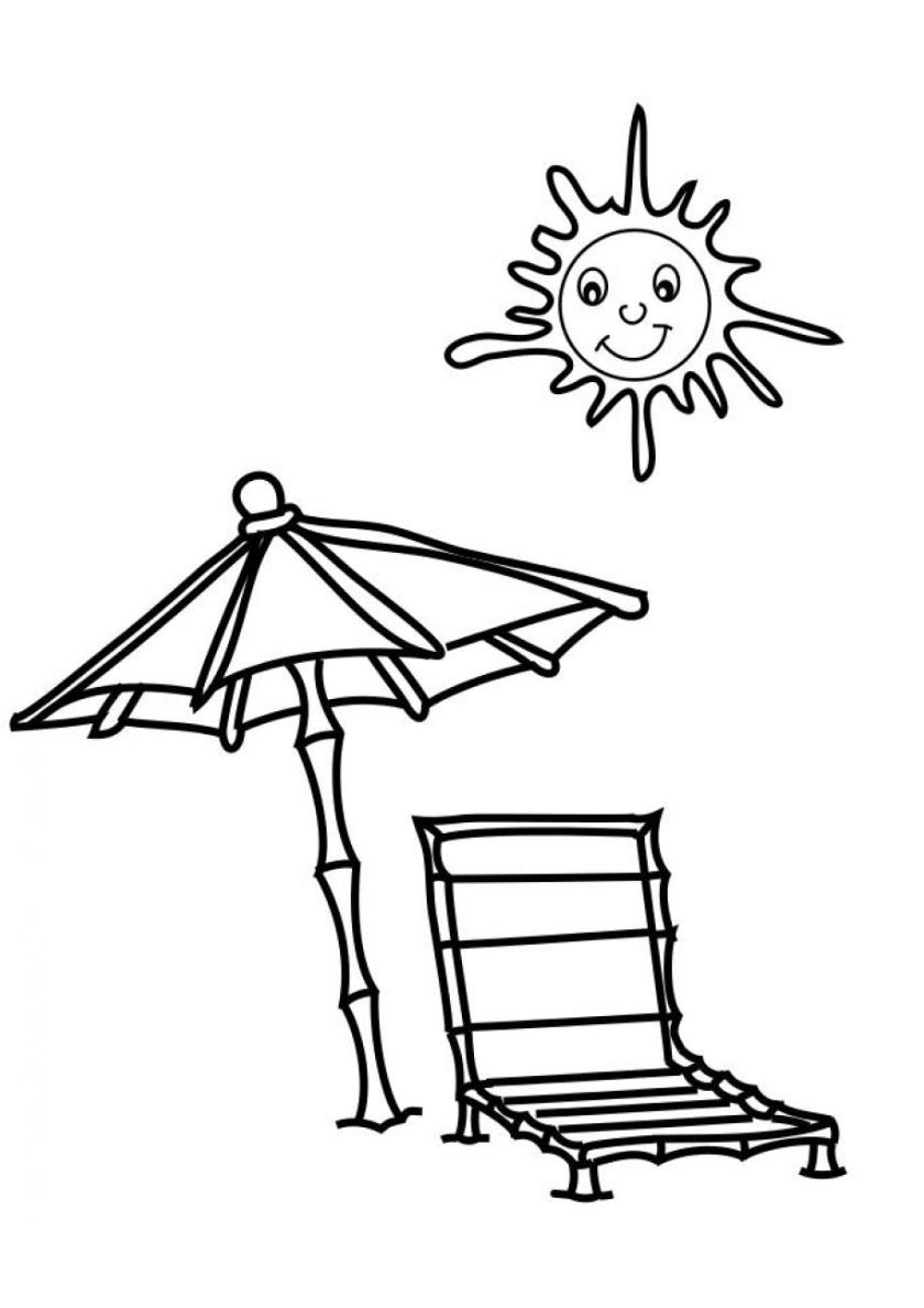 Раскраска Шезлонг и зонт под солнцем распечатать | Лето
