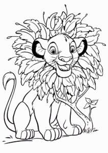 Король Лев распечатать раскраску на А4 - Шикарная грива