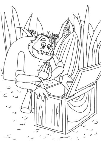 Шнюк изучает содержимое ящика (Лунтик) распечатать раскраску