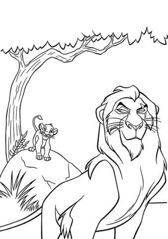 Король Лев бесплатная раскраска - Шрам заманивает Симбу в каньон