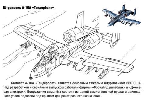 Раскраска Штурмовик А-10А Тандерболт распечатать на А4 - Самолеты