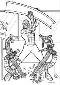 Раскраска - схватка человека-паука и доктора Осьминога