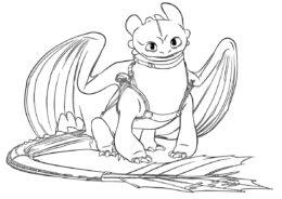 Сидящий Беззубик (Драконы) бесплатная раскраска на печать