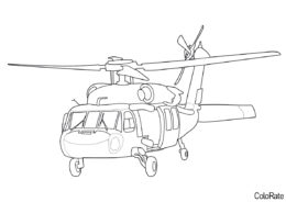 Распечатать раскраску Sikorsky S-70i Black Hawk - Вертолеты