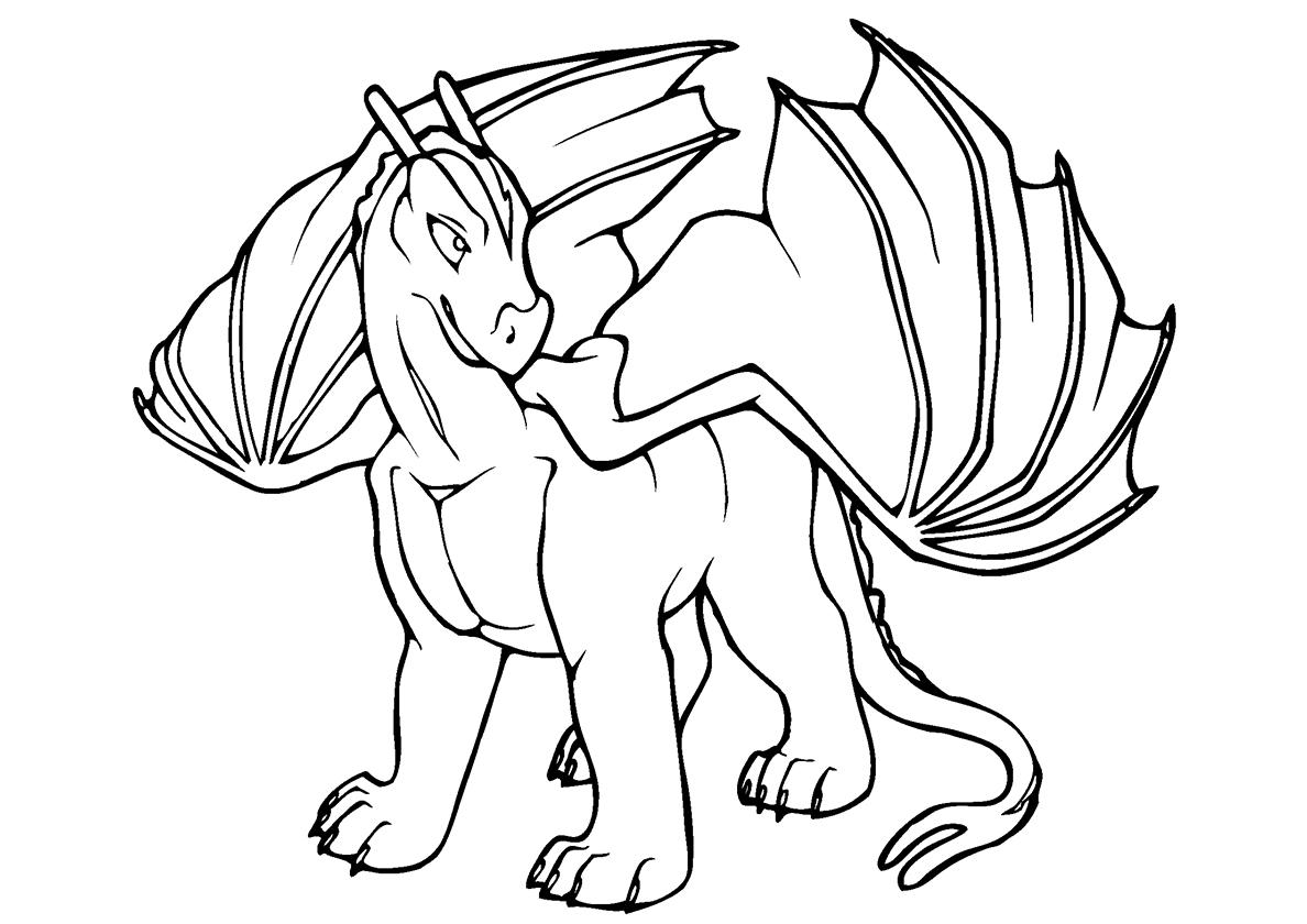 Раскраска Сильный дракон распечатать | Драконы