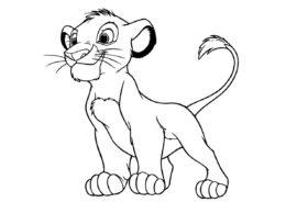 Король Лев бесплатная раскраска распечатать на А4 - Симба