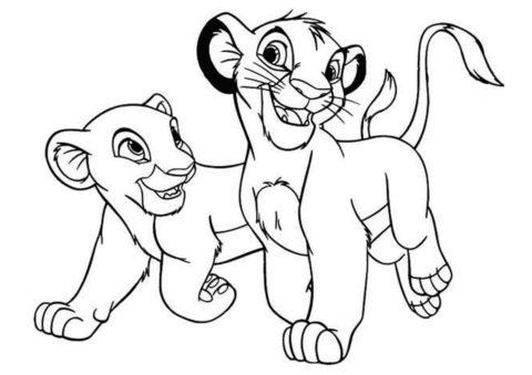 Симба и Нала гуляют (Король Лев) бесплатная раскраска