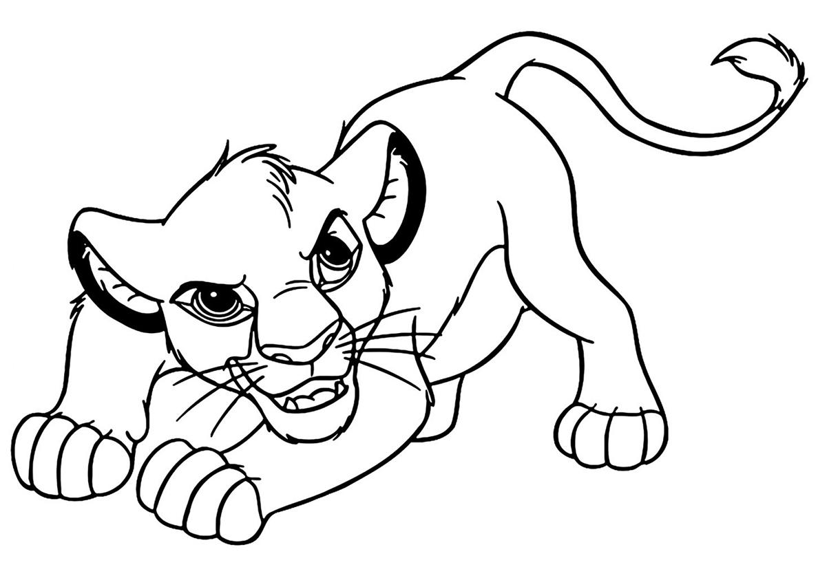 Раскраска Симба на охоте распечатать | Король Лев