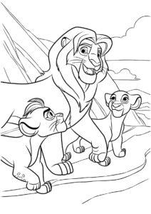 Симба с детьми (Король Лев) распечатать разукрашку
