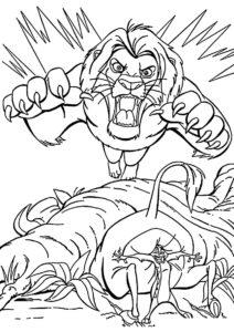 Симба в ярости раскраска распечатать на А4 - Король Лев