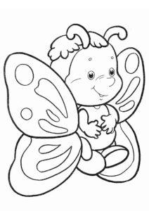 Симпатичная мультяшка (Бабочки) распечатать раскраску