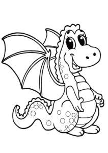Симпатичный дракоша распечатать разукрашку бесплатно - Драконы