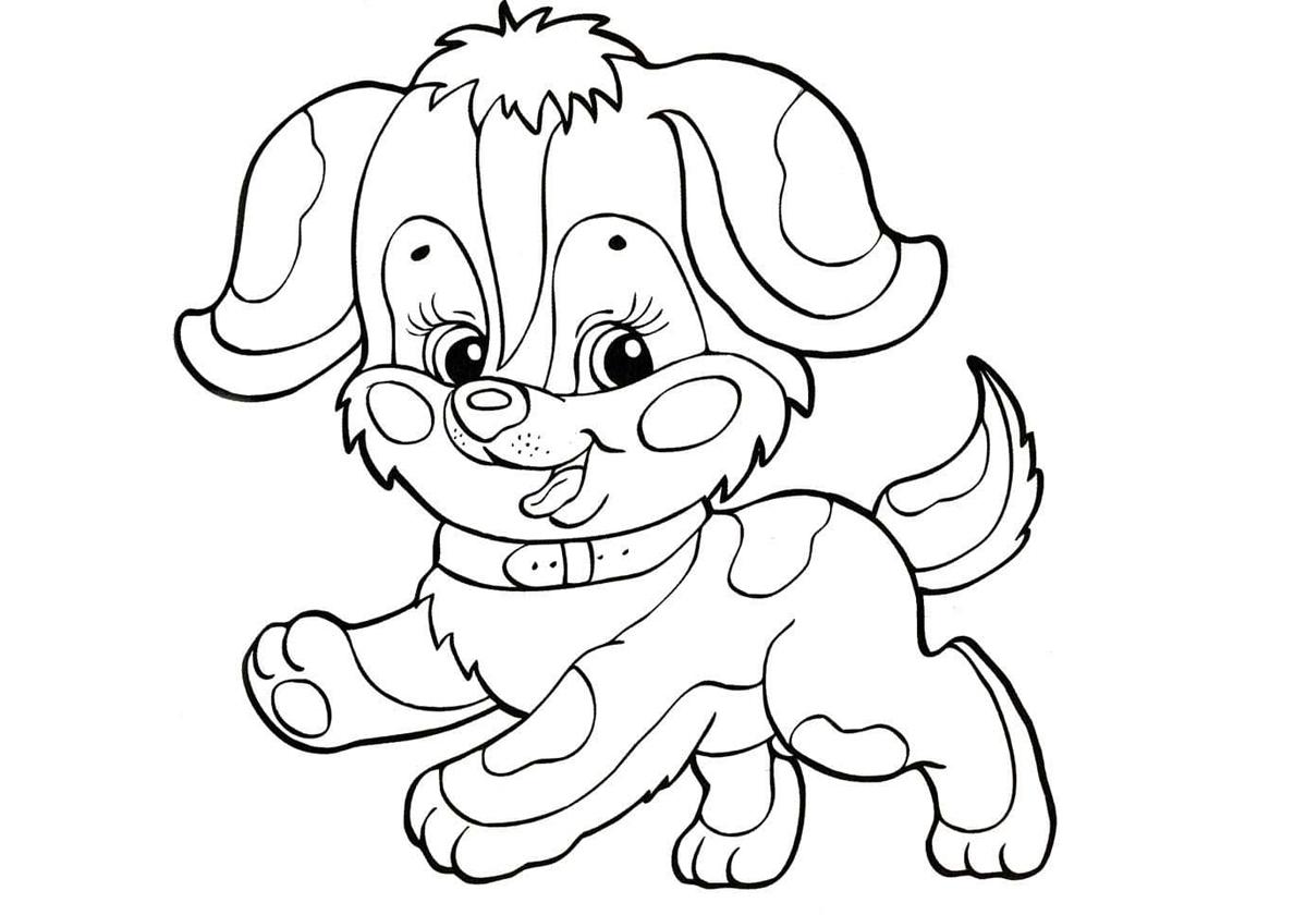 Раскраска Симпатичный щенок распечатать | Собаки и щенки