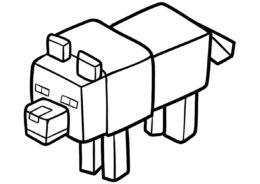 Майнкрафт распечатать раскраску - Симпатичный волчонок