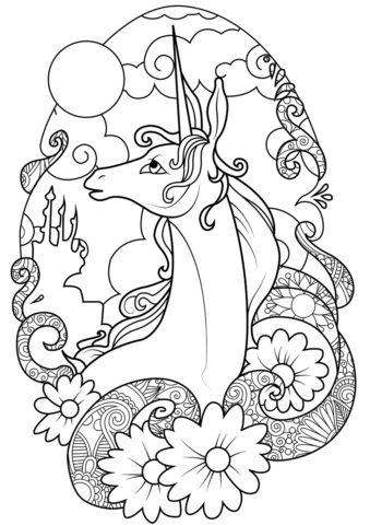 Сказочная страна (Единороги) раскраска для печати и загрузки