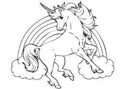 Разукрашка Сказочный единорог распечатать на А4 - Единороги