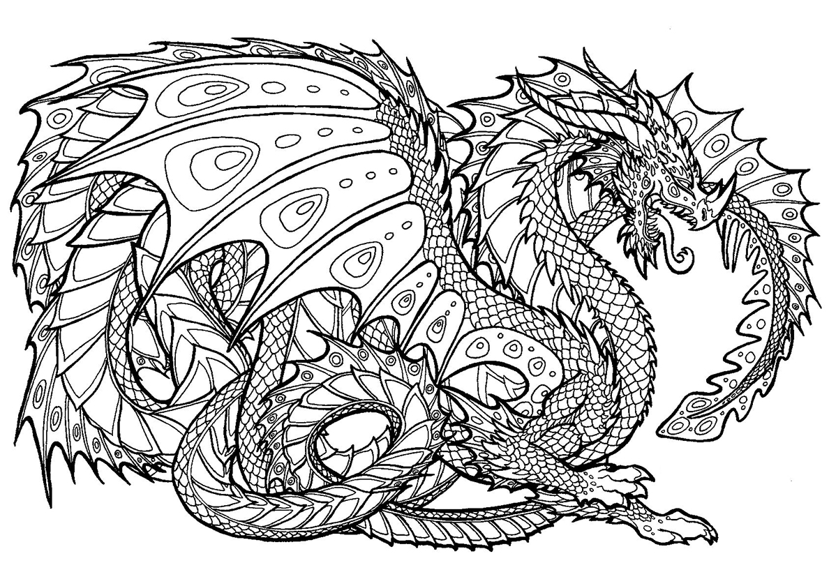 Раскраска Сказочный крылатый Змей распечатать   Драконы