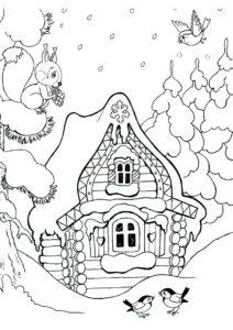 Бесплатная раскраска Сказочный зимний домик распечатать на А4 - Зима