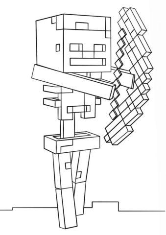 Скелет-лучник бесплатная раскраска - Майнкрафт