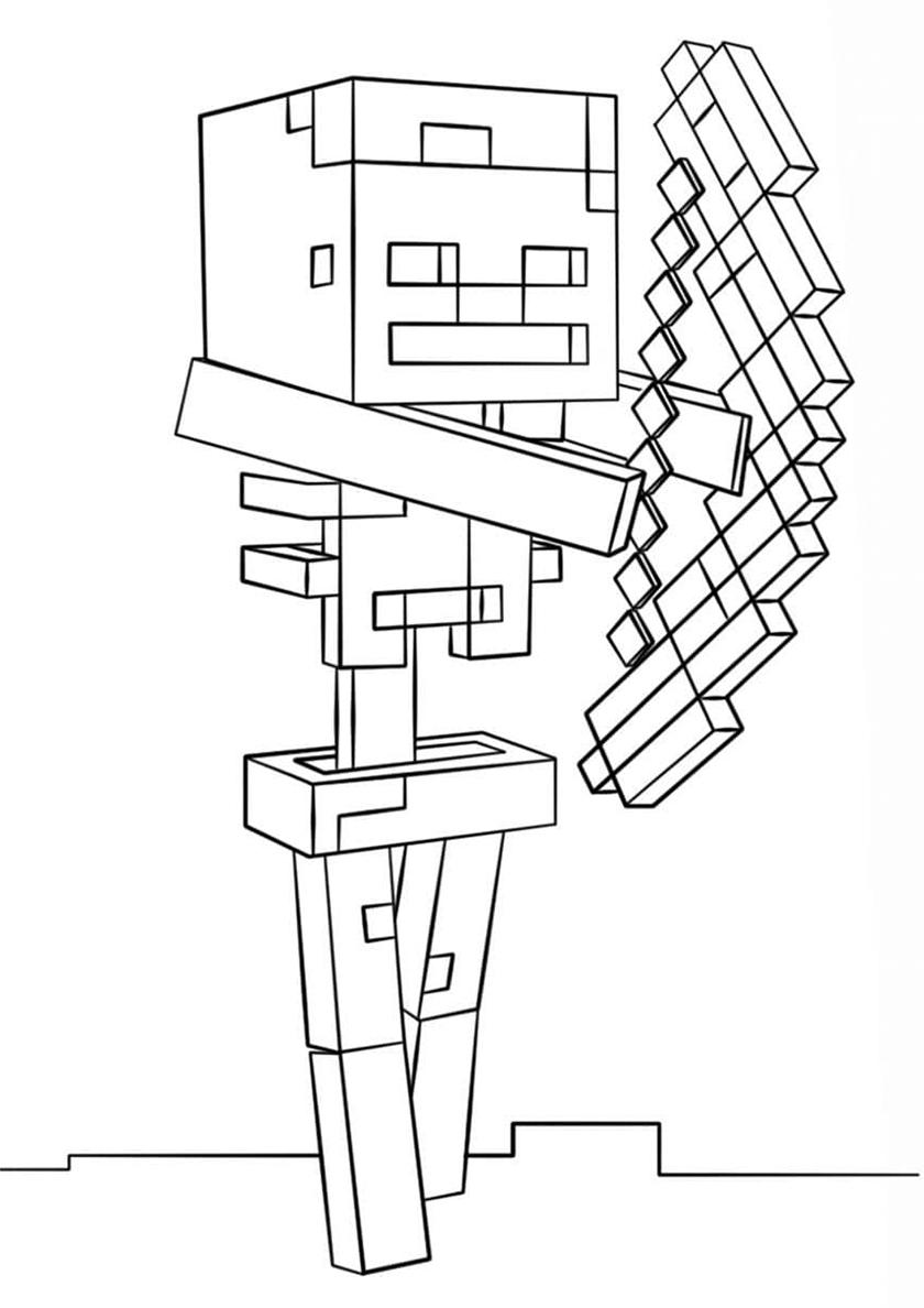 Раскраска Скелет-лучник распечатать | Майнкрафт