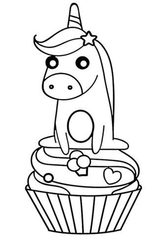 Сладкий единорожек распечатать раскраску - Единороги