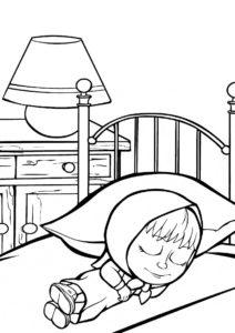 Сладкий сон (Маша и Медведь) распечатать разукрашку