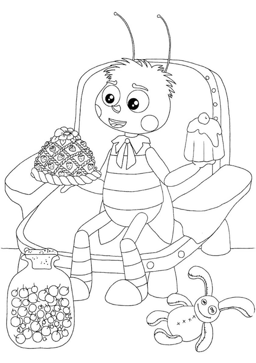 Раскраска Сладости для Пчеленка распечатать | Лунтик