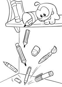 Разукрашка Сластена рассыпал карандаши распечатать на А4 - Приключения Ам Няма