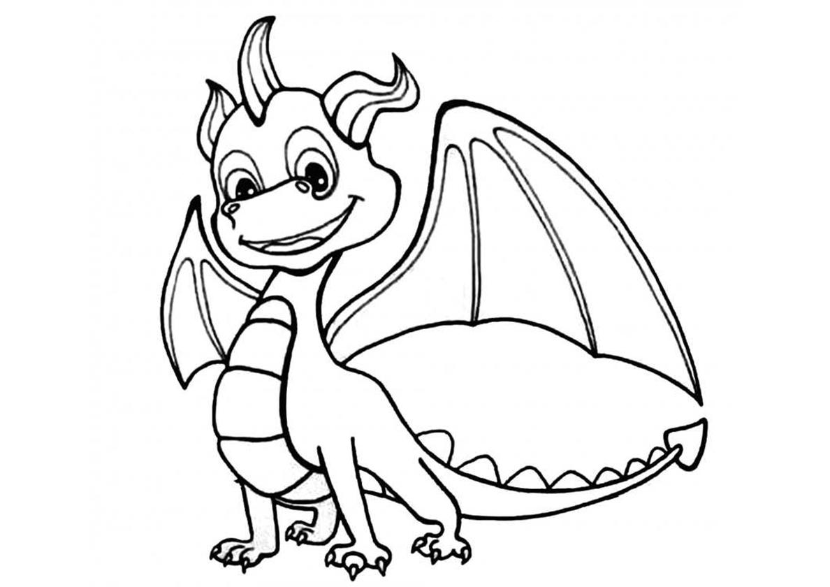 Раскраска Славный дракончик распечатать | Драконы