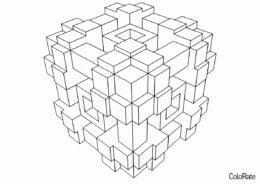 Геометрические фигуры распечатать раскраску - Сложная геометрическая фигура