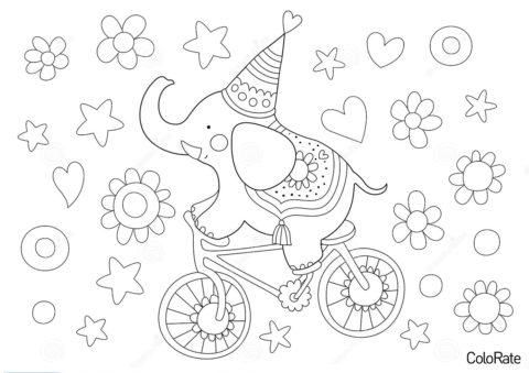 Слоник на велосипеде распечатать раскраску - Велосипеды