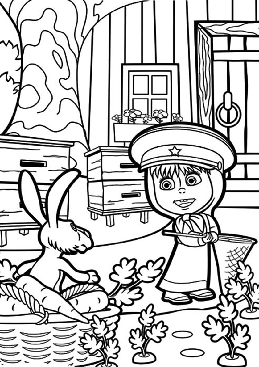 Раскраска Смелый охранник распечатать | Маша и Медведь