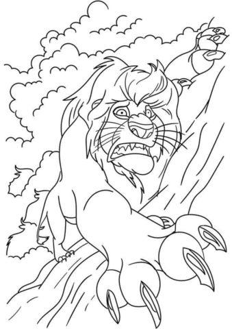 Смерть Муфасы (Король Лев) бесплатная раскраска