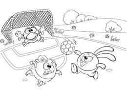 Разукрашка Смешарики играют в футбол распечатать на А4 - Смешарики