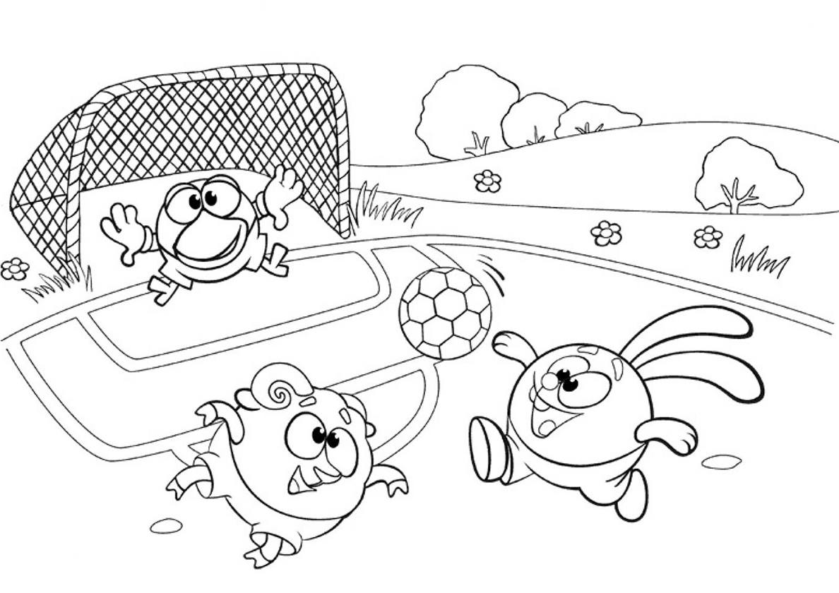Раскраска Смешарики играют в футбол распечатать | Смешарики