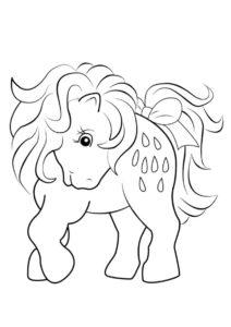 Разукрашка Смешной пони распечатать и скачать - Лошади и пони