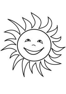 Смеющееся солнышко (Лето) распечатать бесплатную раскраску