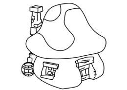 Бесплатная разукрашка для печати и скачивания Смурфный домик - Смурфики