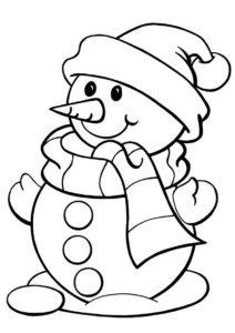 Снеговик (Зима) распечатать раскраску
