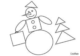 Бесплатная раскраска Снеговик и ёлочка распечатать на А4 - Геометрические фигуры