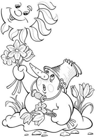 Разукрашка Снеговик и солнышко распечатать на А4 и скачать - Весна