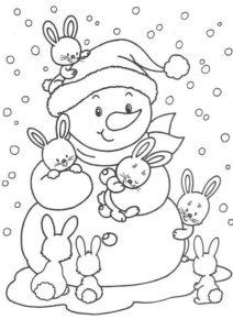 Снеговик и зайчатки раскраска распечатать на А4 - Зима