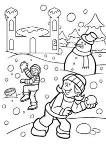 Снежный бой - Зима распечатать раскраску на А4