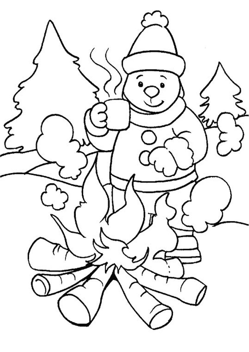 Раскраска Собачка у костра распечатать | Зима