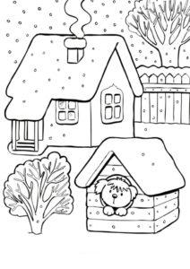 Раскраска Собачка в будке зимой - Зима