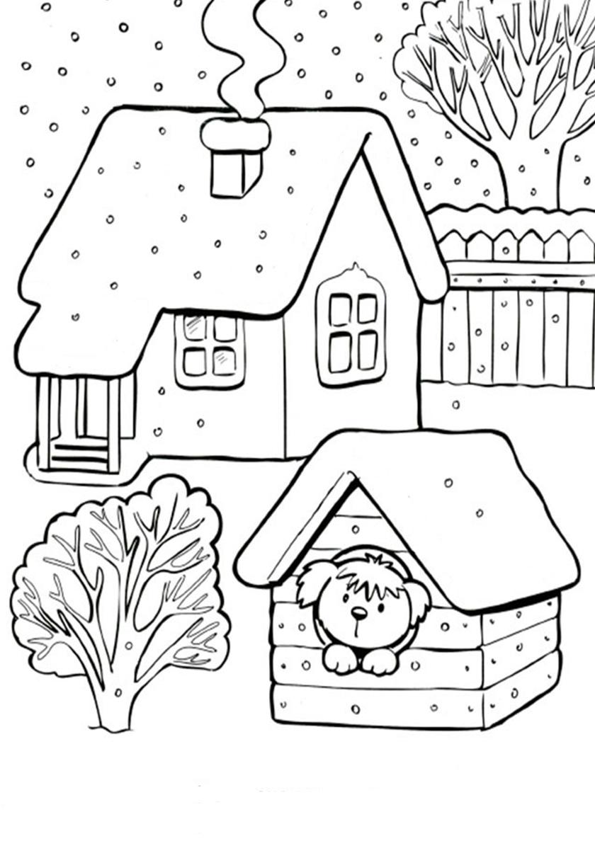 Раскраска Собачка в будке зимой распечатать | Зима