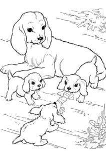 Раскраска Собачья семья распечатать на А4 и скачать - Собаки и щенки